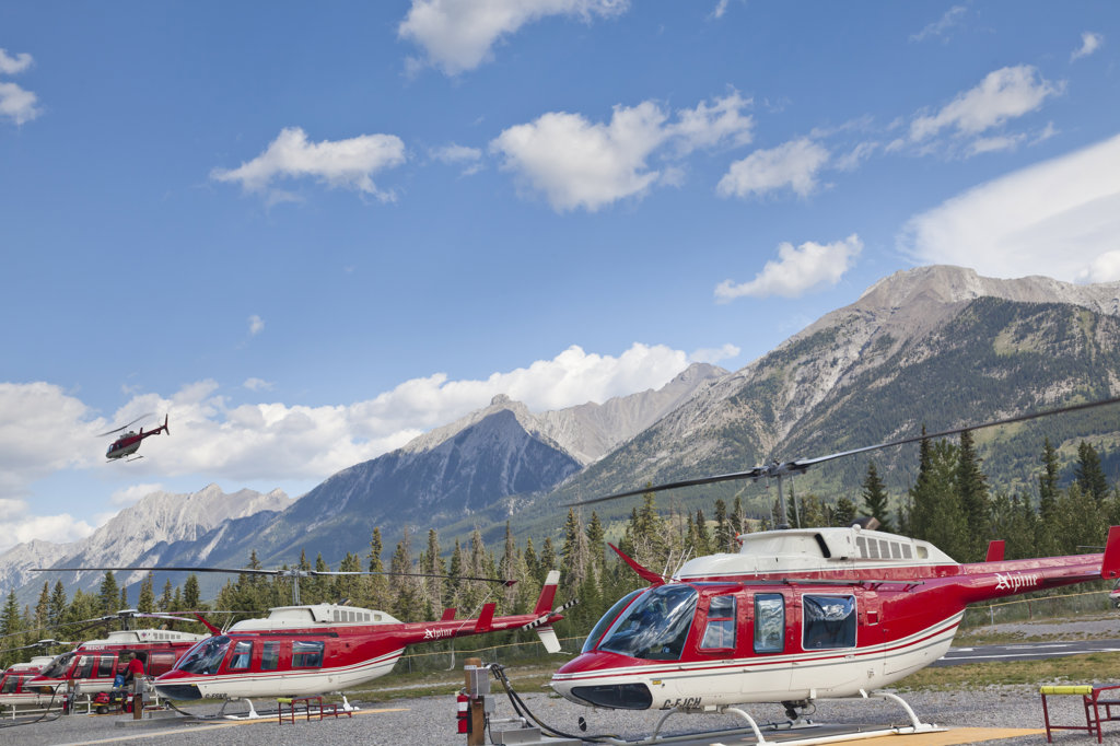 Stock Photo: 1482R-2979 Canada, Helicopter flight to Mount Assiniboine Provincial Park from Canmore
