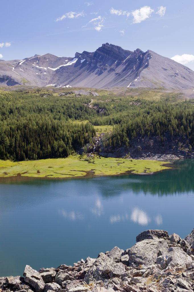 Stock Photo: 1482R-3009 Canada, Mount Assiniboine Provincial Park, Lake Gog from Naiset Point