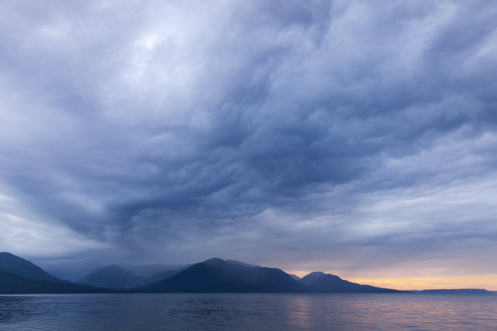 Stock Photo: 1482R-3040 USA, Washington, Seabeck, Storm clouds over Hood Canal