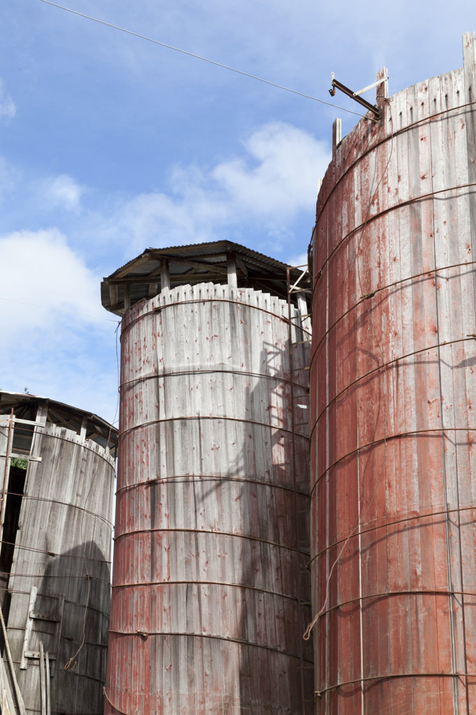 USA, Washington, Silverdale, Historic Petersen Farm, Old silos : Stock Photo