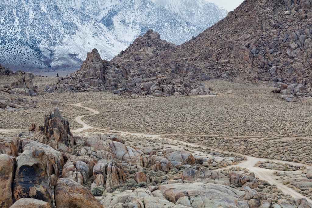 Stock Photo: 1482R-3278 USA, California, Back road in Alabama Hills, near Lone Pine