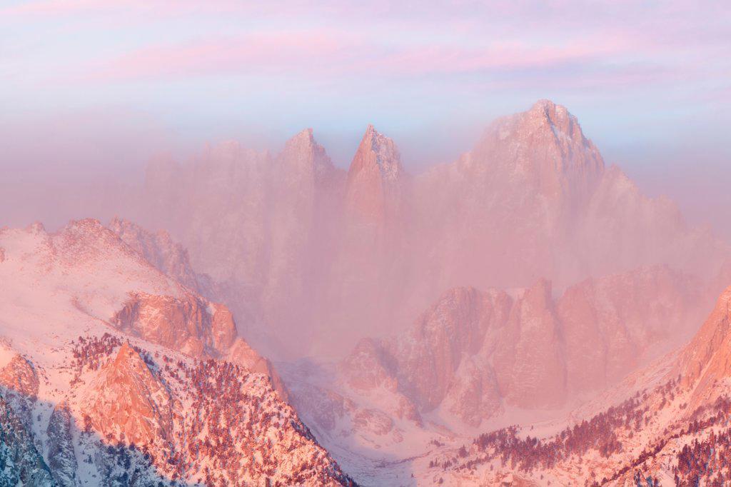 Stock Photo: 1482R-3286 USA, California, Sunrise, Mount Whitney, from Alabama Hills, near Lone Pine