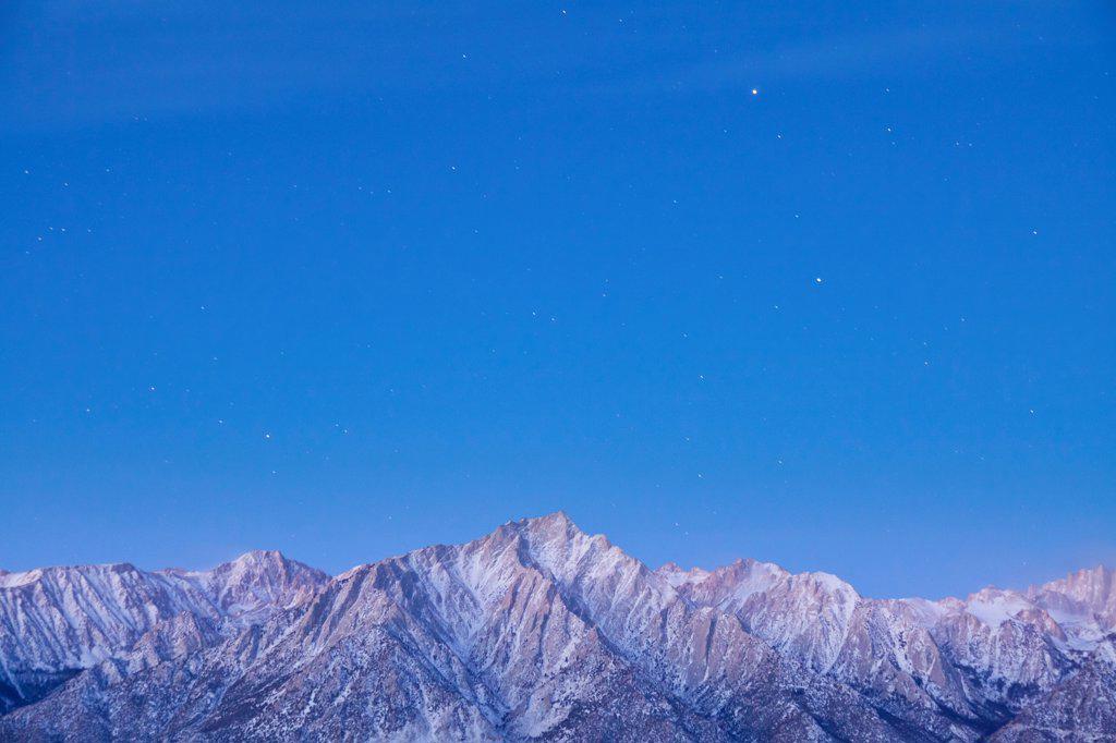 Stock Photo: 1482R-3294 USA, California, Sierra Mountains, Lone Pine Peak and Mount Whitney, Taken from Alabama Hills