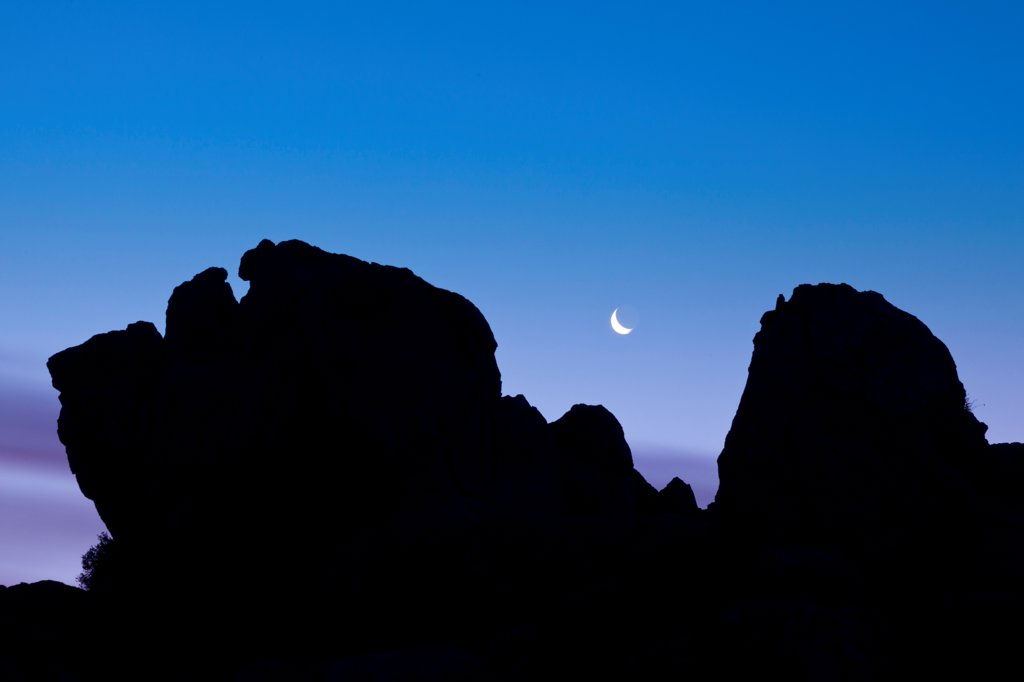 USA, California, Alabama Hills, near Lone Pine, Crescent moon and predawn sky : Stock Photo