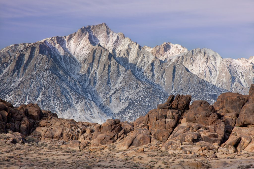 USA, California, Lone Pine Peak from Alabama Hills, near Lone Pine : Stock Photo
