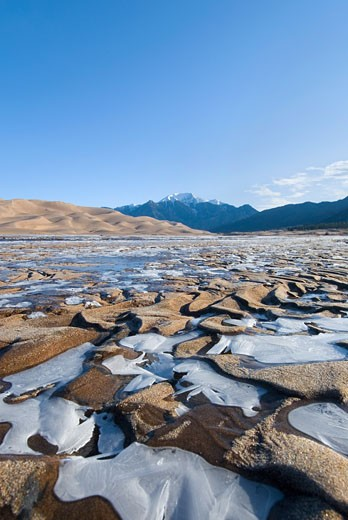 Stock Photo: 1485-299 River passing through a landscape, Great Sand Dunes National Park And Preserve, Colorado, USA