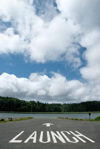 Text Launch written on a runway, Washington State, USA : Stock Photo