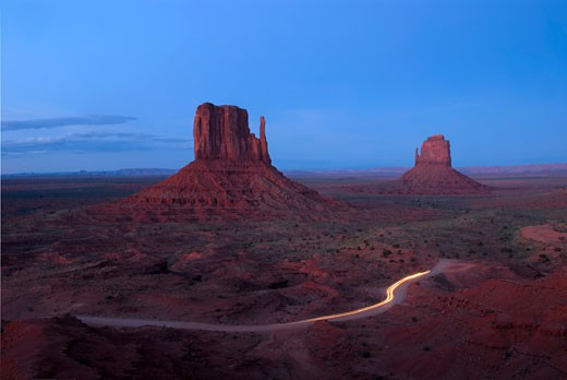 Stock Photo: 1485-372 High angle view of a road passing through a landscape, The Mittens, Monument Valley, Arizona, USA