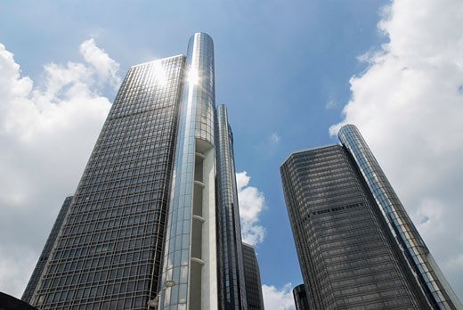 Low angle view of skyscrapers, Renaissance Center, Detroit, Wayne County, Michigan, USA : Stock Photo