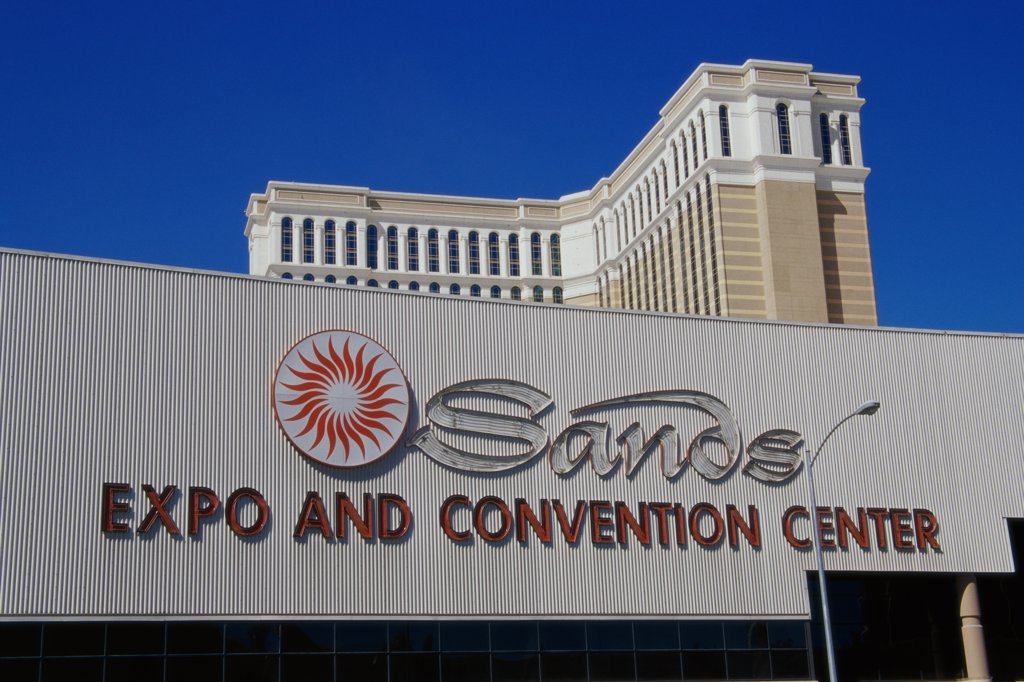 Low angle view of a sign, Sands Expo and Convention Center, Las Vegas, Nevada, USA : Stock Photo