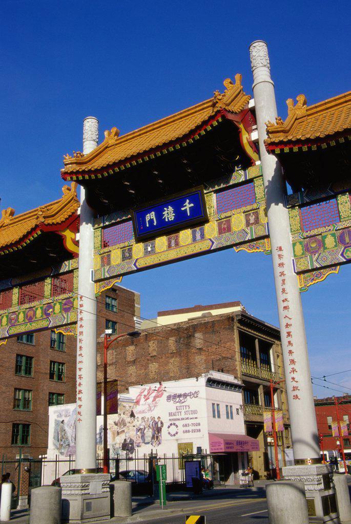 Stock Photo: 1486-10190 Chinatown Gate Vancouver British Columbia, Canada