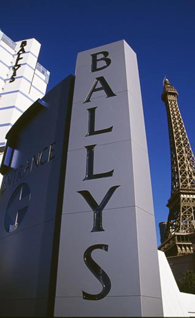 Stock Photo: 1486-1030 Hotel in a city, Bally's Las Vegas, Replica Eiffel Tower, Las Vegas, Nevada, USA