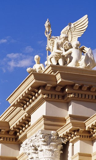Statues on the top of a hotel, Monte Carlo Resort And Casino, Las Vegas, Nevada, USA : Stock Photo