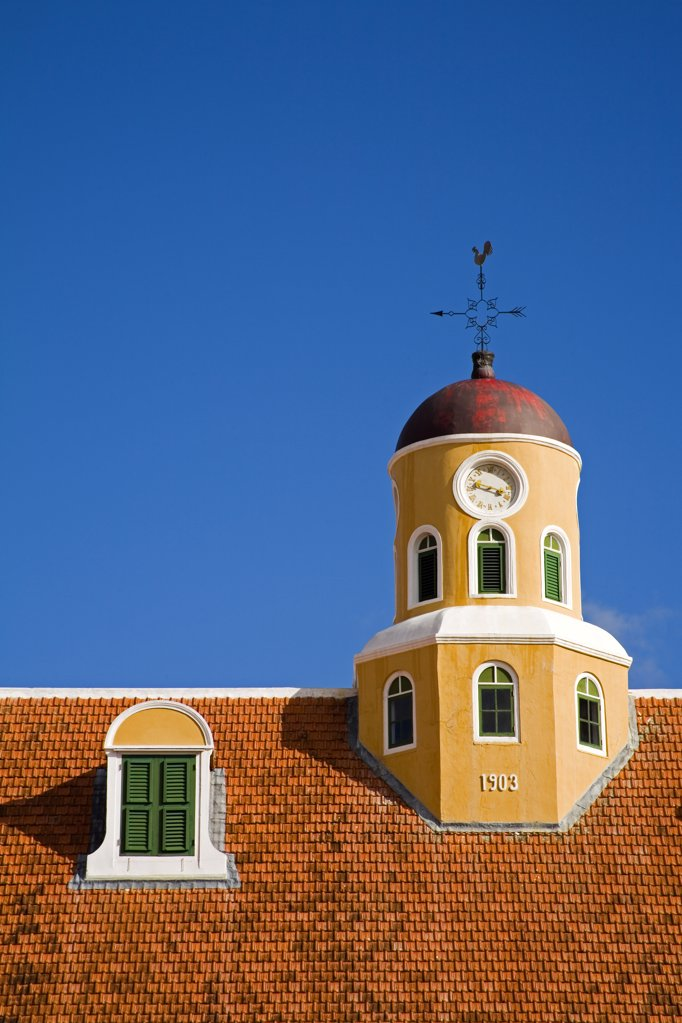 High section view of a church, Fort Church, Fort Amsterdam, Punda, Willemstad, Curacao : Stock Photo