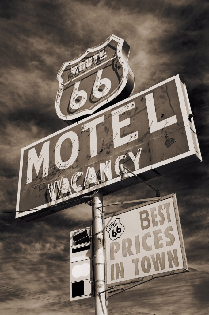 Stock Photo: 1486-10621 Low angle view of a motel sign, Route 66, Barstow, California, USA