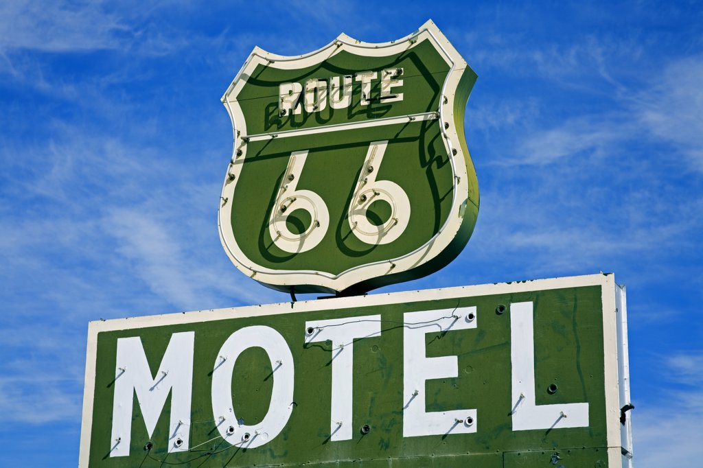Close-up of a motel sign, Route 66, Barstow, California, USA : Stock Photo
