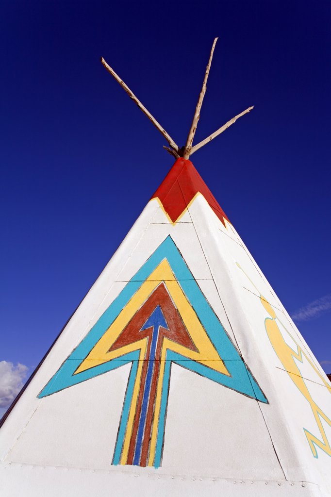 Stock Photo: 1486-10636 Close-up of a teepee, Painted Desert Indian Center, Route 66, Arizona, USA