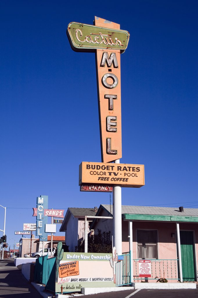 Stock Photo: 1486-10641 Low angle view of a motel sign at a motel, Cactus Motel, Route 66, Barstow, California, USA