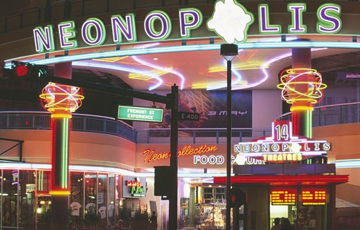 Stock Photo: 1486-1065 Shopping mall lit up at night, Neonopolis, Fremont Street, Las Vegas, Nevada, USA