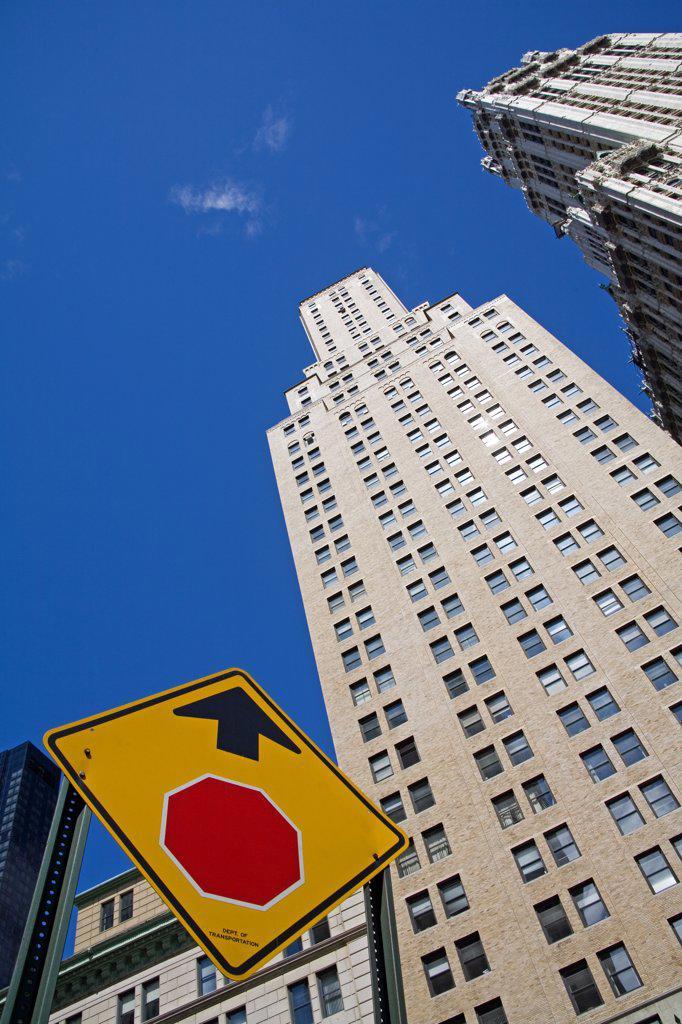 Low angle view of a skyscraper, Lower Manhattan, New York City, New York, USA : Stock Photo