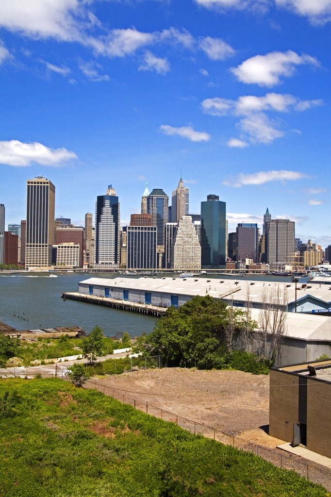 Stock Photo: 1486-10695 View of Lower Manhattan skyline from Brooklyn Heights Promenade, Brooklyn, New York City, New York, USA