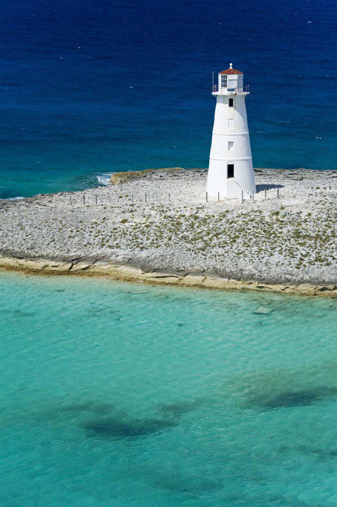 Stock Photo: 1486-10747B Lighthouse on an island, Paradise Island Lighthouse, Nassau Harbor, New Providence, Bahamas