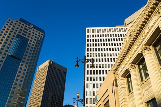 Low angle view of buildings, The White House, Portage Avenue, Winnipeg, Manitoba, Canada : Stock Photo