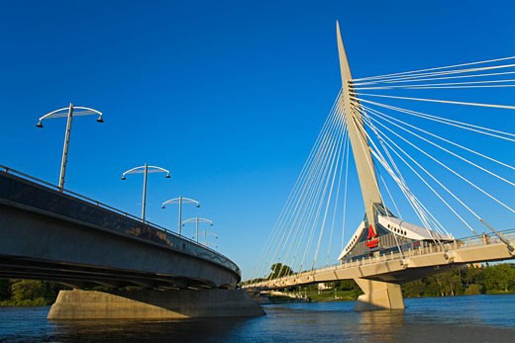 Stock Photo: 1486-10830B Bridge across a river, Esplanade Riel Pedestrian Bridge, Red River, Winnipeg, Manitoba, Canada