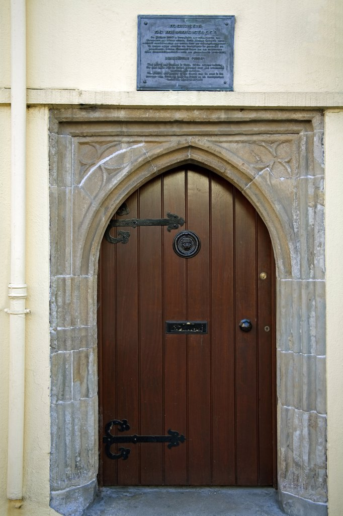 Stock Photo: 1486-10879 Closed door of a building, Youghal, County Cork, Munster Province, Ireland