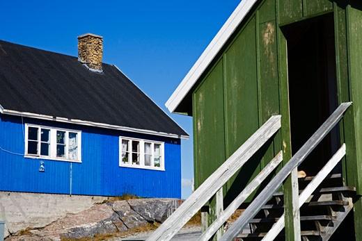 Houses on a hill, Nanortalik, Kitaa, Greenland : Stock Photo
