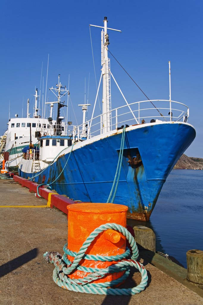 Fishing boat moored at a port, St. John's, Newfoundland And Labrador, Canada : Stock Photo
