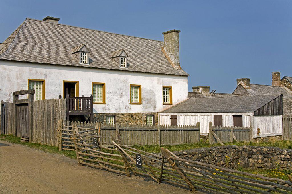 Facade of a fortress, Fortress of Louisbourg, Louisbourg, Cape Breton Island, Nova Scotia, Canada : Stock Photo