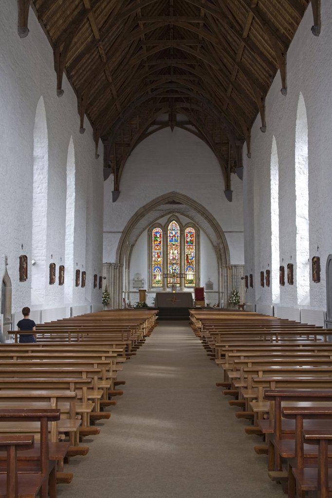 Interiors of a church, Duiske Abbey, Graiguenamanagh, County Kilkenny, Leinster Province, Ireland : Stock Photo