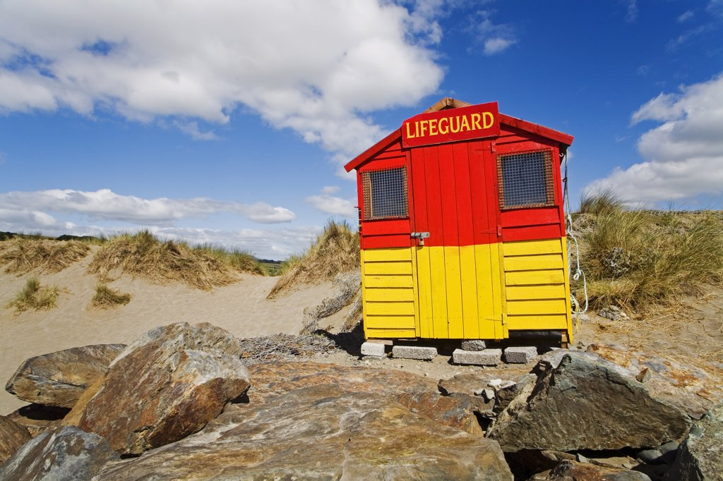 Lifeguard hut on the beach, Bunmahon Beach, County Waterford, Munster Province, Ireland : Stock Photo