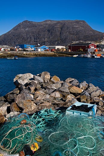 Stock Photo: 1486-11050A Fishing nets on rocks at the seaside, Nanortalik, Kitaa, Greenland
