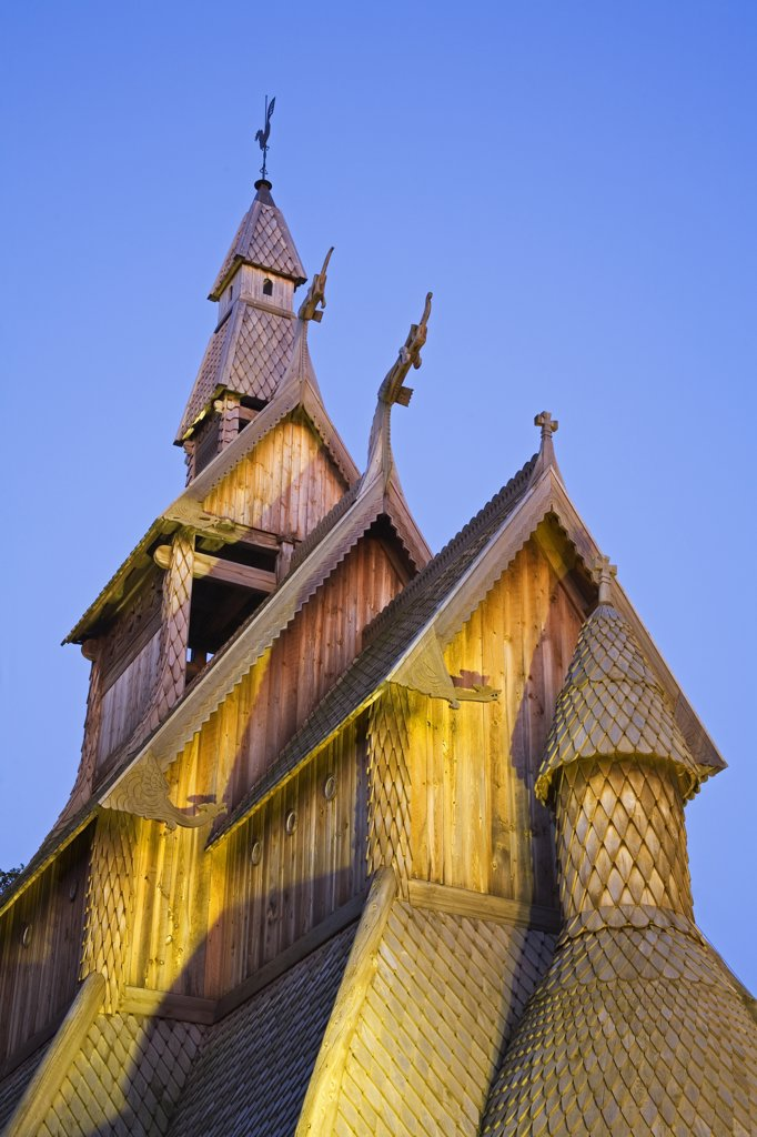 Stock Photo: 1486-11075 Low angle view of a church, Hopperstad Stave Church, Hjemkomst Center, Moorhead, Minnesota, USA