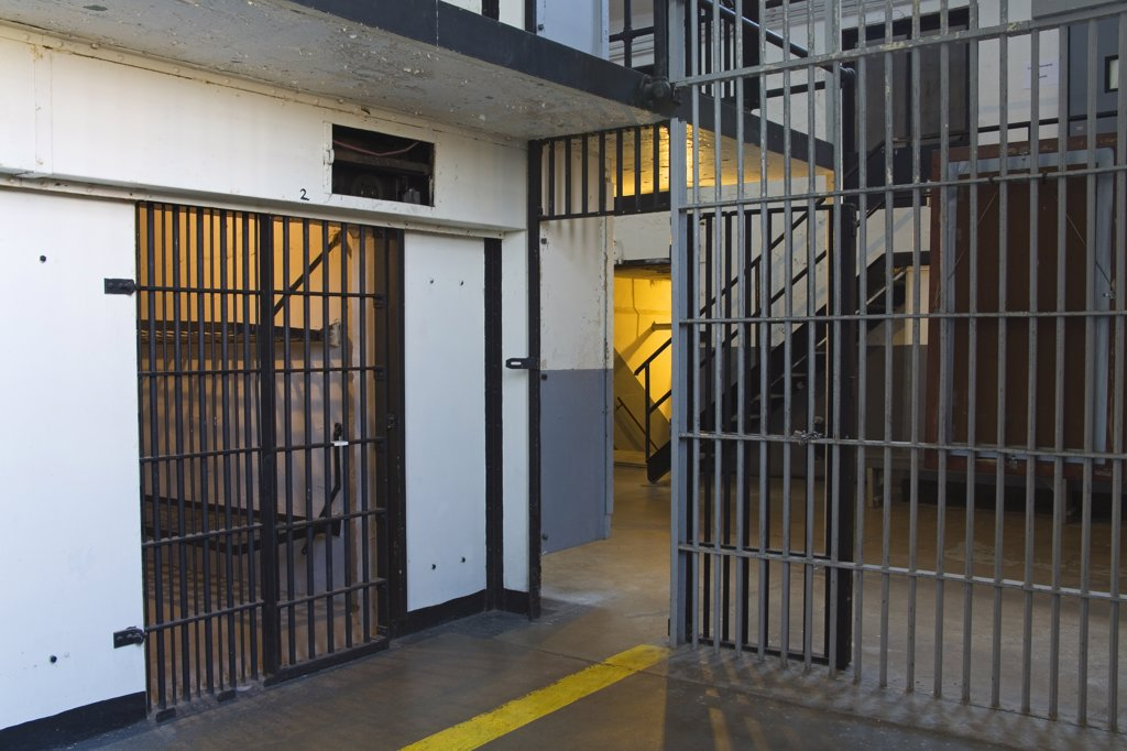 Stock Photo: 1486-11128 Prison cells in a museum, Old Montana Prison Museum, Deer Lodge, Montana, USA