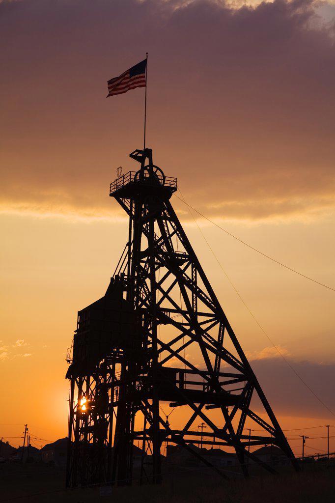 Low angle view of a headframe, Anselmo Mine, Butte, Montana, USA : Stock Photo