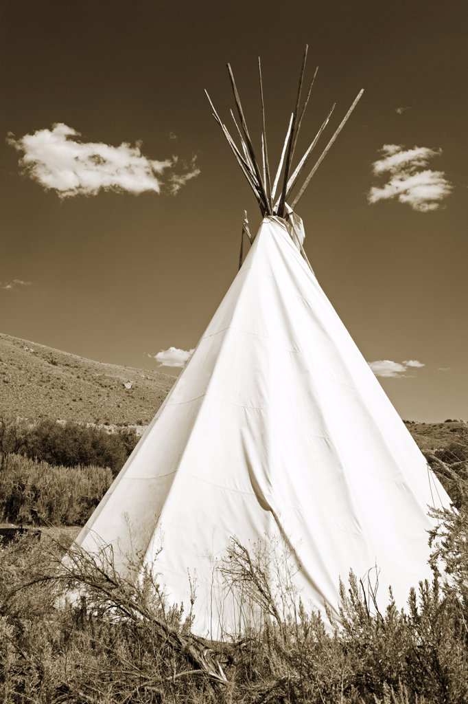 Stock Photo: 1486-11141A Teepee in a field, Bannack State Park, Dillon, Montana, USA