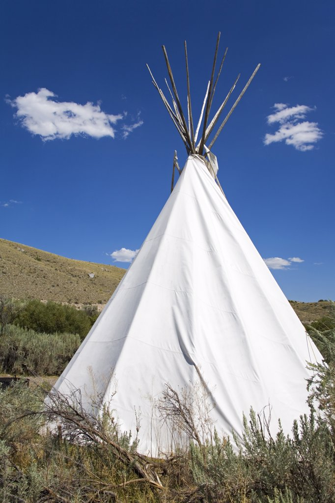 Stock Photo: 1486-11141B Teepee in a field, Bannack State Park, Dillon, Montana, USA