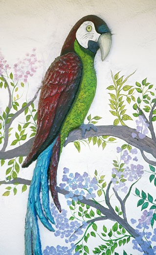 Stock Photo: 1486-1131 Close-up of a painting of a parrot, Puerto Vallarta, Mexico