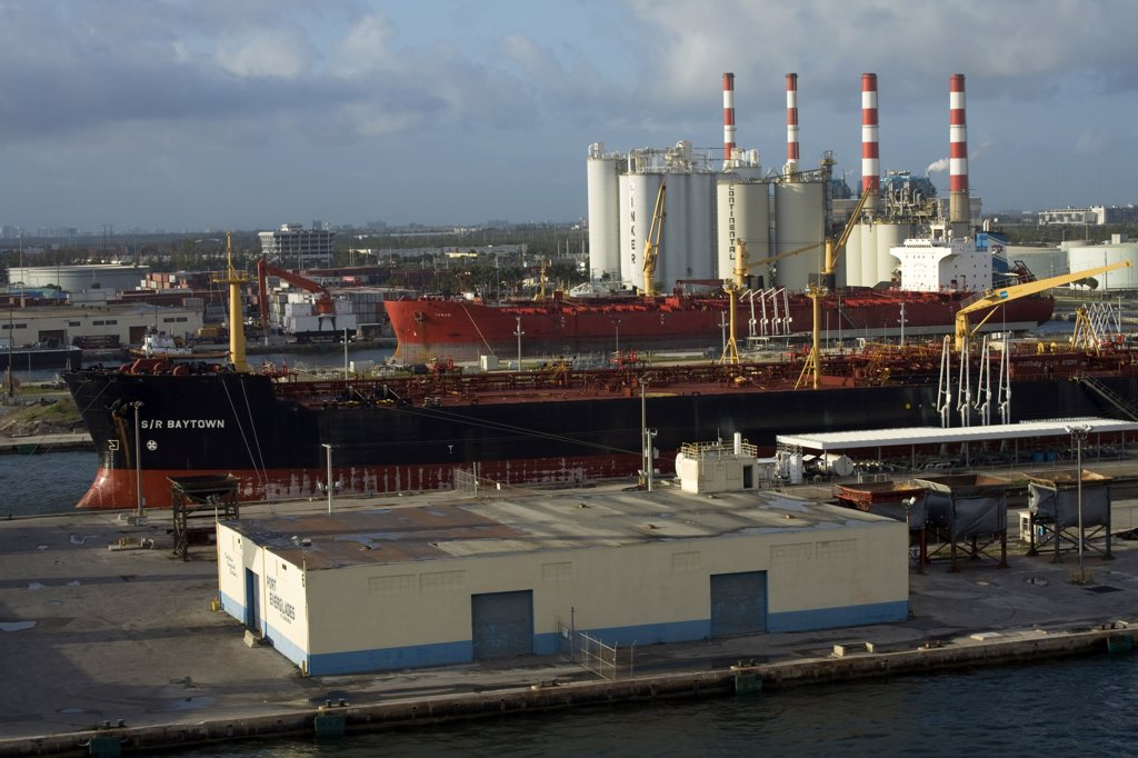 Container ship at a harbor, Port Everglades, Fort Lauderdale, Broward County, Florida, USA : Stock Photo