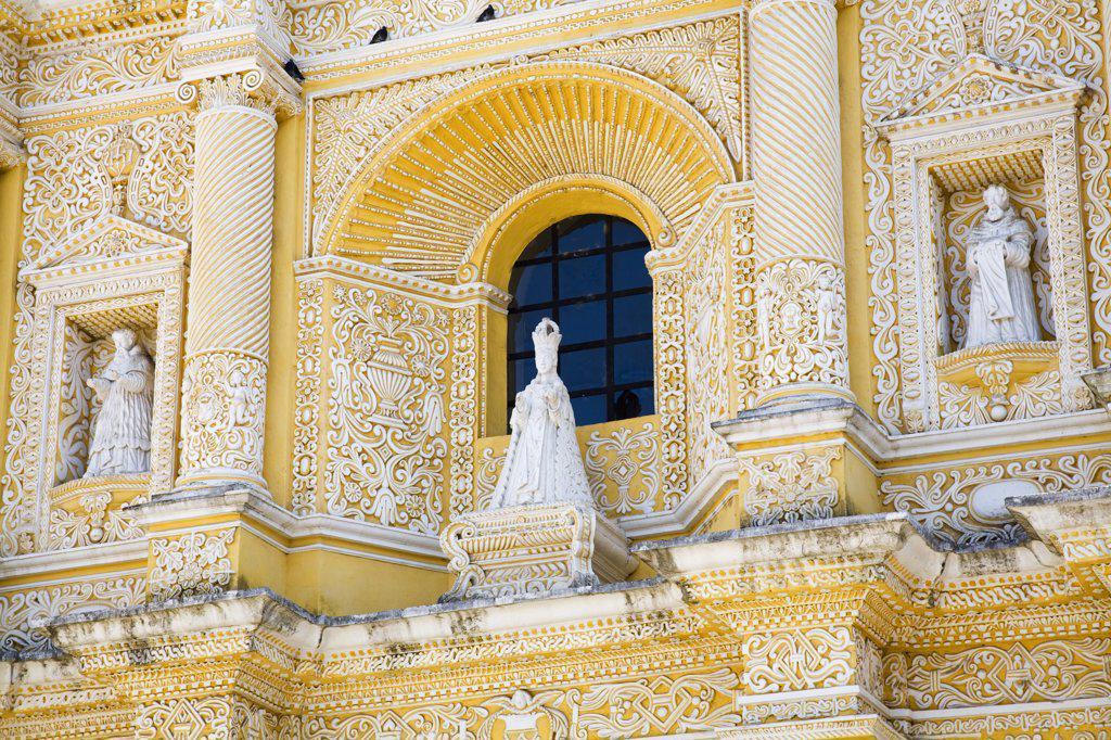 Architectural details of a church, Iglesia y Convento de Nuestra Senora de la Merced, Antigua, Guatemala : Stock Photo