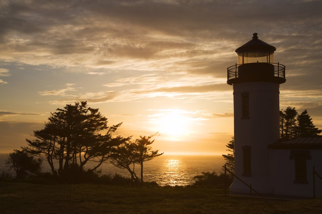 Stock Photo: 1486-11503 Silhouette of a lighthouse at dusk, Admiralty Head Lighthouse, Fort Casey State Park, Whidbey Island, Island County, Washington State, USA