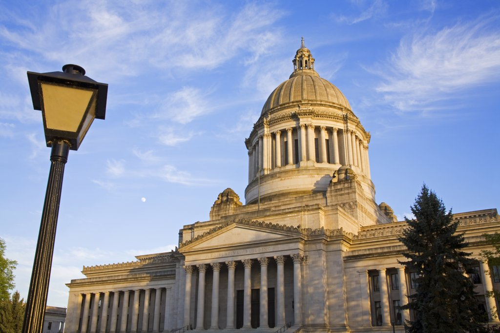 Facade of a government building, Washington State Capitol, Olympia, Thurston County, Washington State, USA : Stock Photo