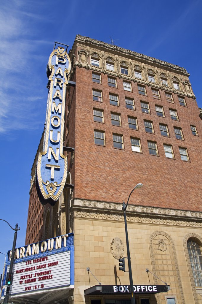 Stock Photo: 1486-11568A Low angle view of an entertainment building, Paramount Theatre, Seattle, King County, Washington State, USA