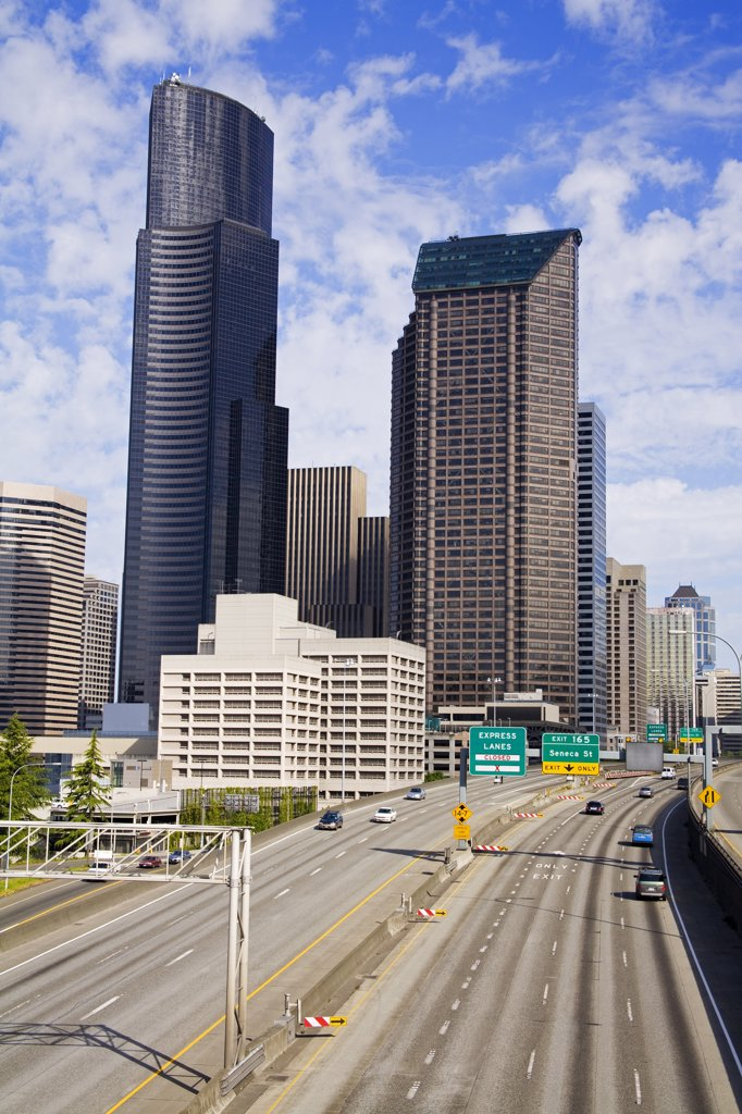 Cars on a highway in a city, Interstate 5, Seattle, King County, Washington State, USA : Stock Photo