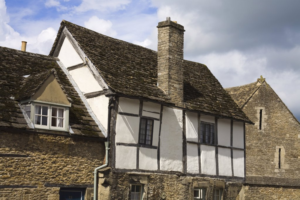 Low angle view of a house, High Street, Lacock, Wiltshire, England : Stock Photo