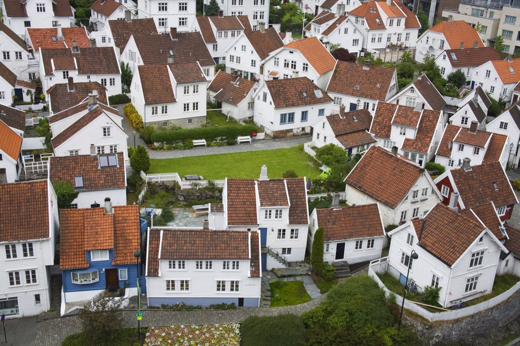 Wooden houses in a city, Gamle Stavanger, Stavanger, Rogaland County, Norway : Stock Photo