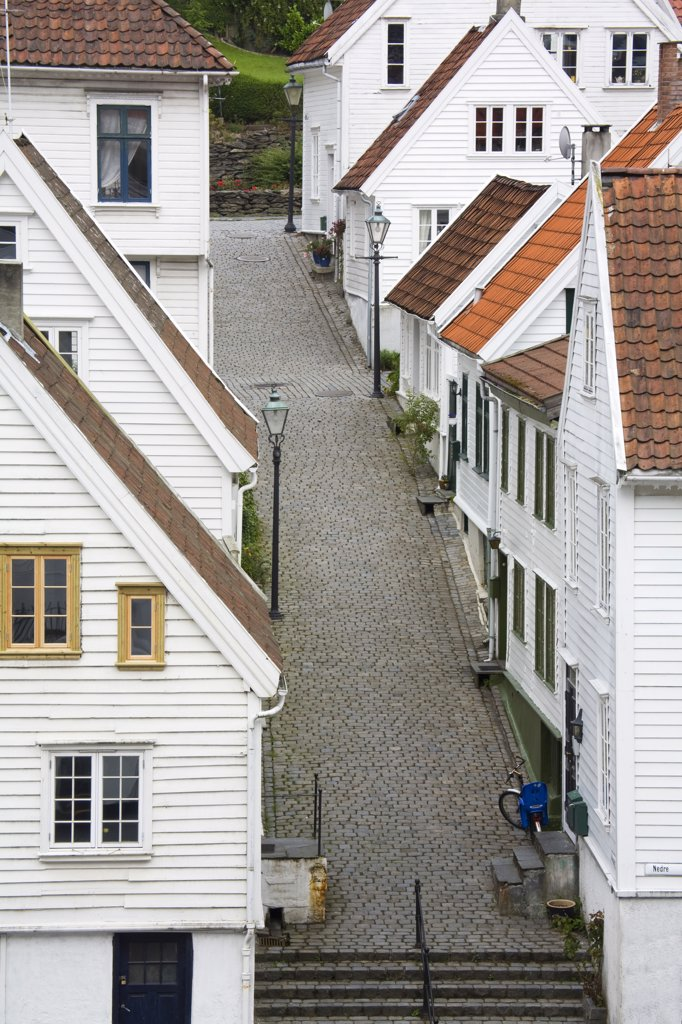 Houses along a street, Clausegaten Street, Gamble Stavanger, Stavanger, Rogaland County, Norway : Stock Photo